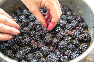 blackberries in pan precooked